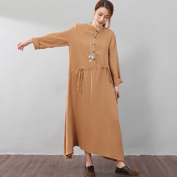Stand Collar Women Lattice Flax Long Sleeves Coffee A-line Dress - Buykud