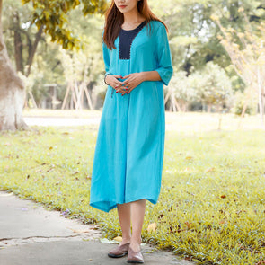 Summer Women Literature Round Neck A-line Light Blue Dress - Buykud