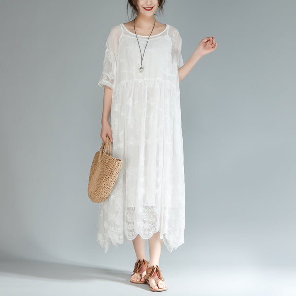 Women Loose Round Neck Half Sleeve White Dress