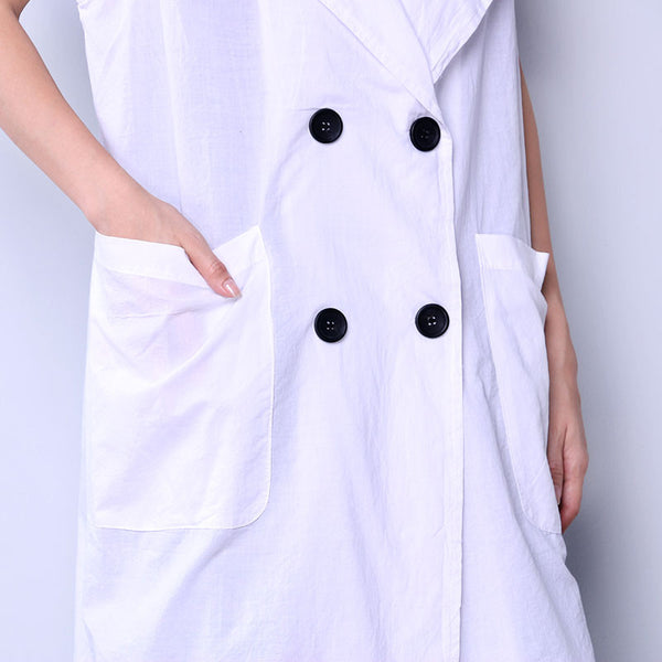 Solid Casual Button Pocket Women White Coat