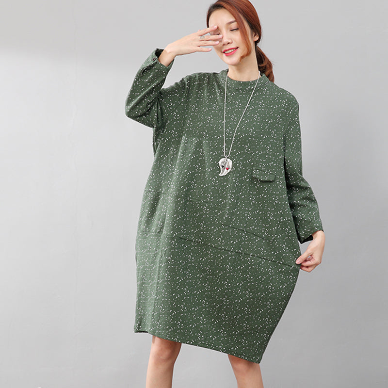 Literature Autumn Women Printing Long Sleeves Green Shirt - Buykud