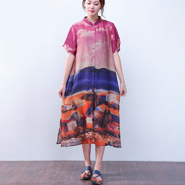 Silk Retro Women Loose Printing Splitting Short Sleeves Wine Red Dress - Buykud