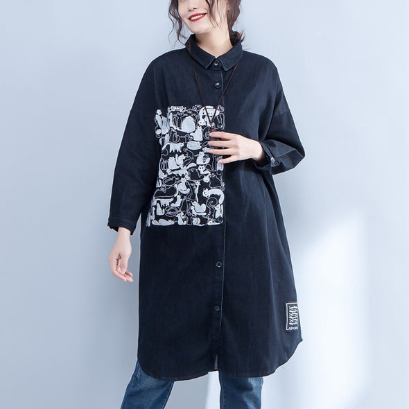 Polo Collar Single Breasted Embroidery Black Denim Coat - Buykud