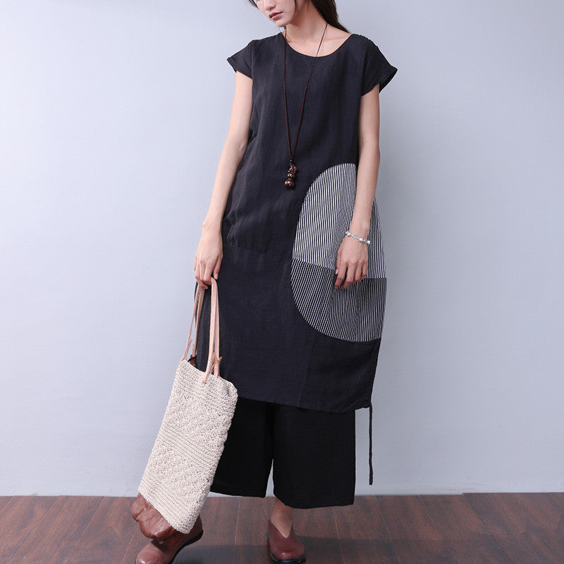 Round Neck Women Loose Splicing Black Dress - Buykud