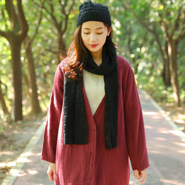 Simple Winter Fashion Keep Warm Pure Color Knitted Scarf+Hat - Buykud