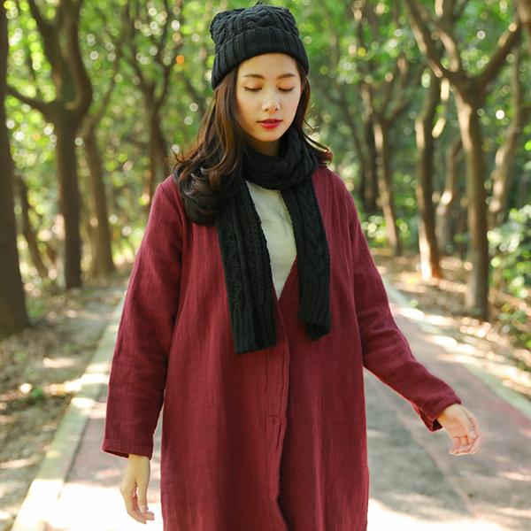 Winter Fashion Women Simple Red Knitted Scarf+Hat