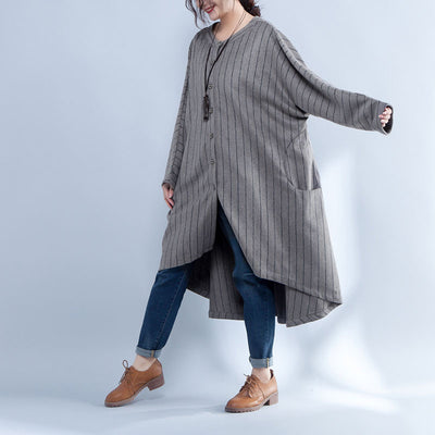 Loose Stripe Shoulder Sleeve Single Breasted Irregular Coat - Buykud