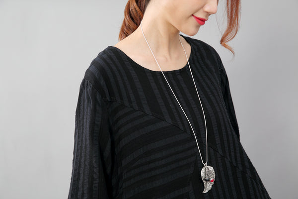 Black Long Sleeves Literature Casual Loose Stripe Cotton Linen Dress - Buykud