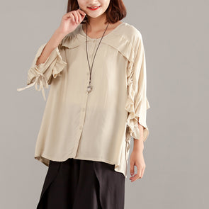 Women Three-quarter Sleeve Beige Casual Tops