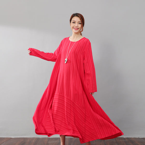 Literature Casual Loose Stripe Pocket Flax Long Sleeves Red Dress - Buykud