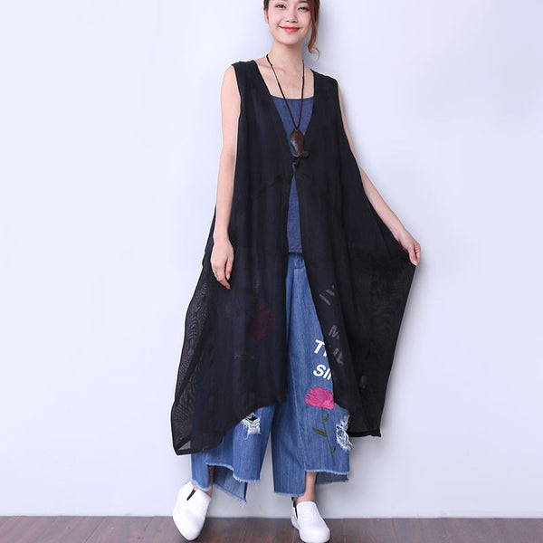 Cotton Linen Loose Women Splicing Dot Black Outerwear Coat - Buykud