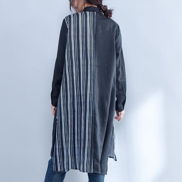 Stripe Printed Long Sleeve Polo Collar Irregular Shirt - Buykud