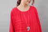 Red Long Sleeves Literature Casual Loose Stripe Cotton Linen Dress - Buykud