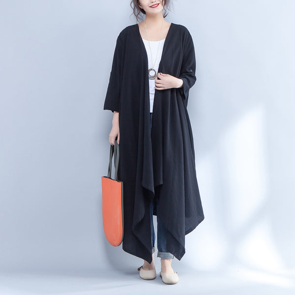 Three Quarter Sleeve Cotton Black Cardigan Irregular Coat - Buykud