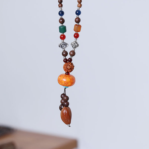 Casual Wooden Bead Ethnic Women Retro Pendants Necklaces
