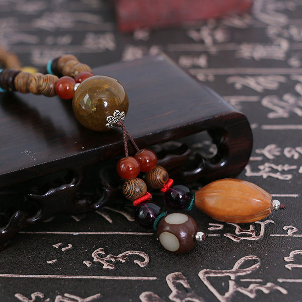 Simple Rosary Vintage Agate Bead Necklace