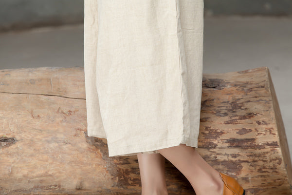 Loose Linen Women Casual Beige Calf Length Jumpsuit - Buykud