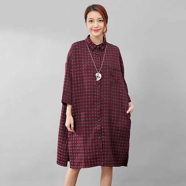 Women Chic Polka Dots Polo Collar Single Breasted Splitting Red Shirt Dress - Buykud