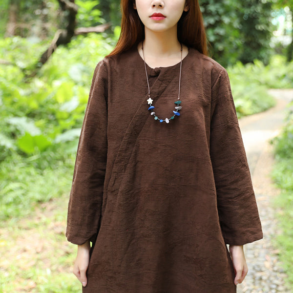 Autumn Jacquard Long Sleeve Women Brown Dress - Buykud