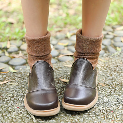 Women Winter Fashionable Cotton Coffee Boots Shoes - Buykud