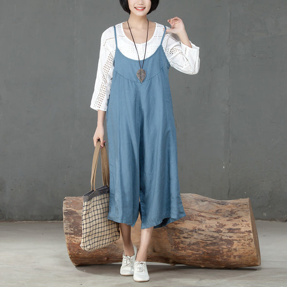 Loose Linen Women Casual Blue Calf Length Jumpsuit - Buykud