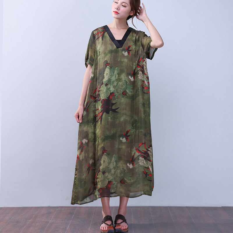 Chic Silk Printing Short Sleeves Green Dress - Buykud