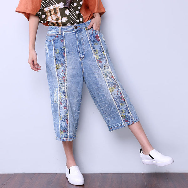 Printing Floral Women Loose Casual Cotton Hole Blue Pants - Buykud