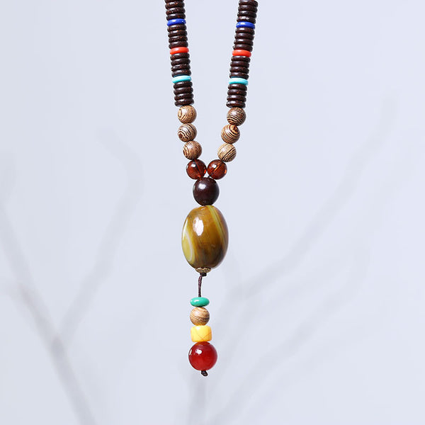 Necklace Casual Wooden Bead Jewelry - Buykud