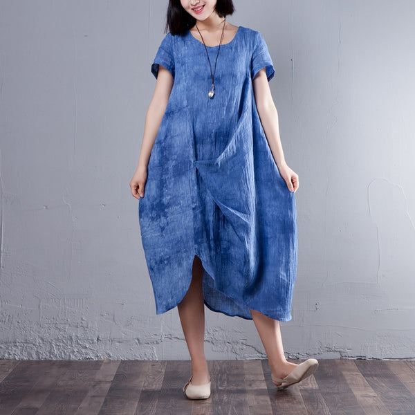 Irregular Round Neck Short Sleeve Summer Blue Dress - Buykud