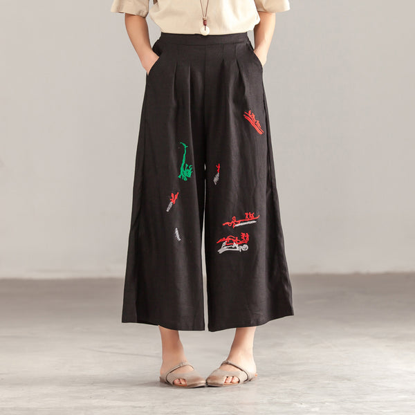 Women Casual Linen Black Pockets Pants