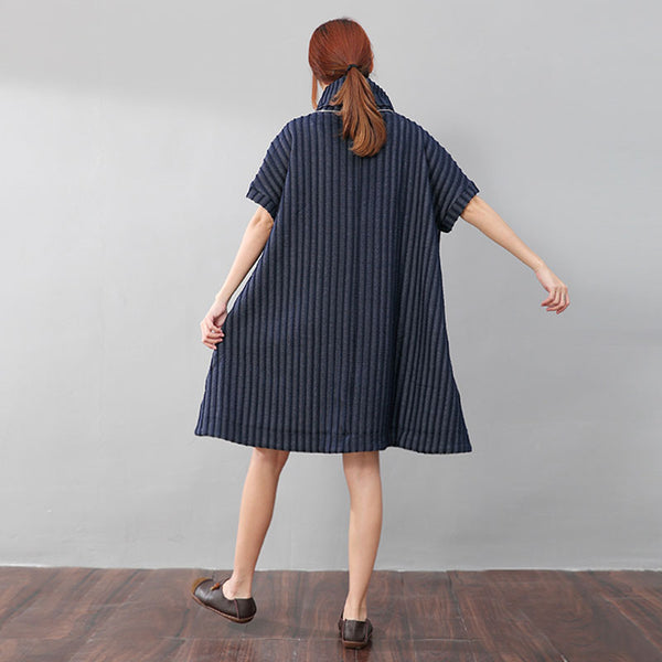 Fashionable Women Turtleneck Vertical Stripe Loose Blue Shirt Dress - Buykud