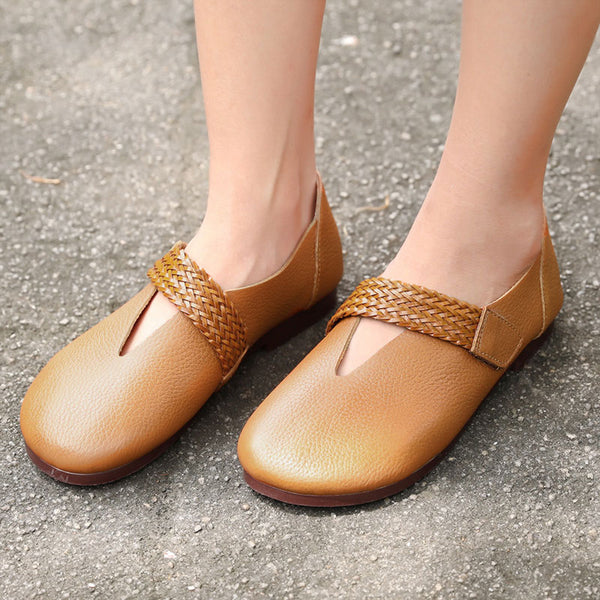 Vintage Leather Retro Brown Single Shoes For Women - Buykud
