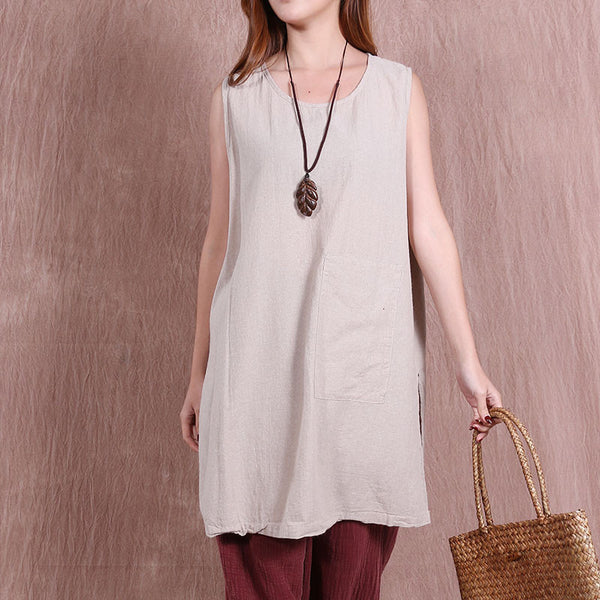 Casual Women Printing Loose Beige Long Vest - Buykud