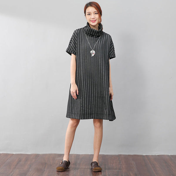 Fashionable Women Turtleneck Vertical Stripe Black Shirt Dress - Buykud