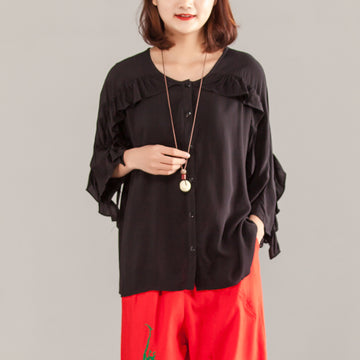 Women Three-quarter Sleeve Black Casual Tops