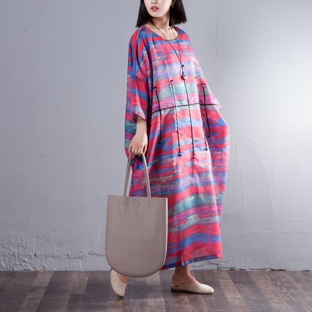 Printed Three Quarter Sleeve Round Neck Women Dress - Buykud