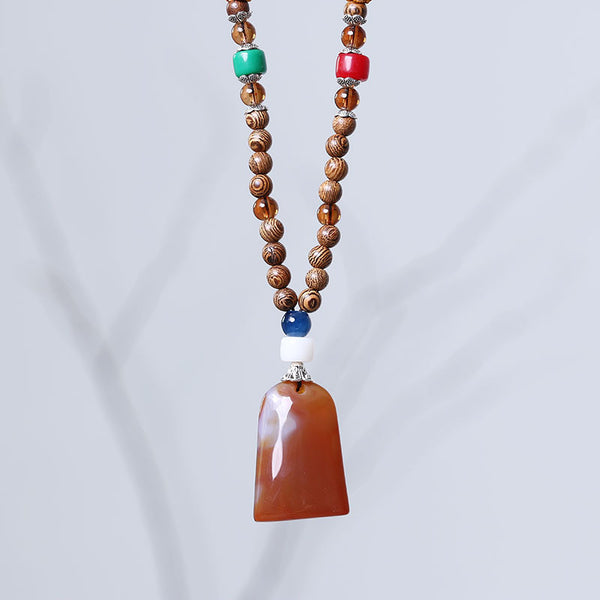 Vintage Jewelry Wooden Agate Necklace - Buykud