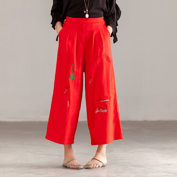 Women Casual Linen Red Pockets Pants
