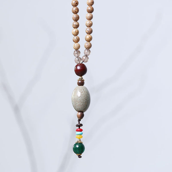 Retro Bead Wooden Agate Necklace