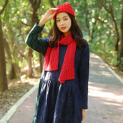 Winter Fashion Women Simple Red Knitted Scarf+Hat - Buykud