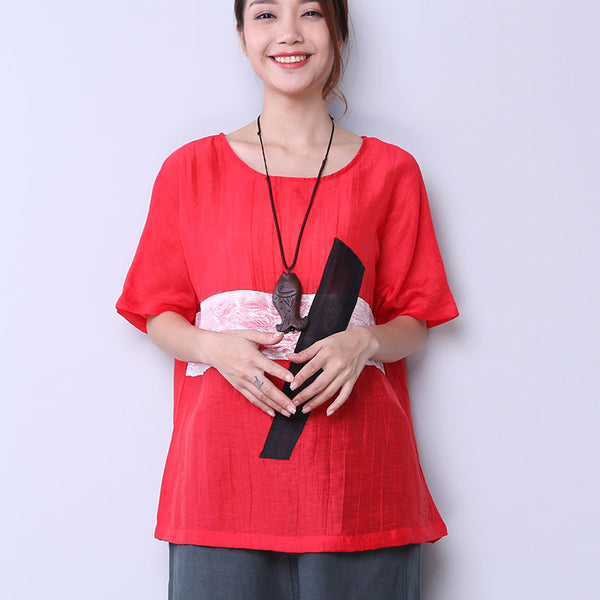 Linen Women Loose Splicing Casual Red Shirt - Buykud