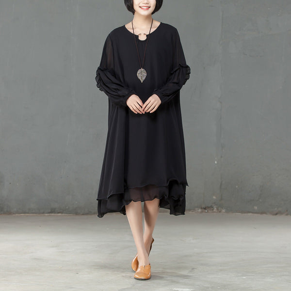 Loose Spring Long Sleeve Pure Color Polyester Dress - Buykud