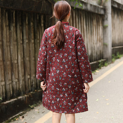 Winter Printing Retro Floral Cotton Dress For Women - Buykud
