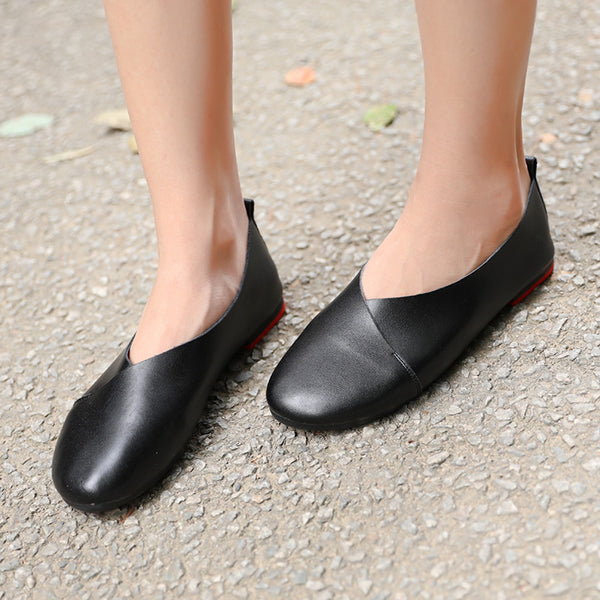 Fashion Genuine Leather Portable Black Single Shoes For Women - Buykud