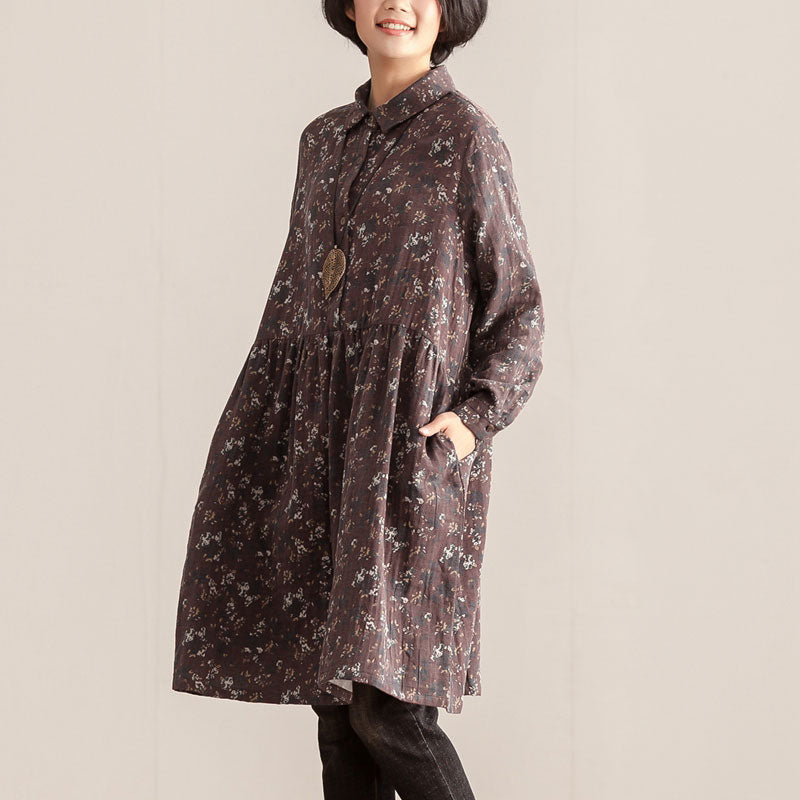 Retro Women Polo Collar Long Sleeve Printing Pullover Dress - Buykud