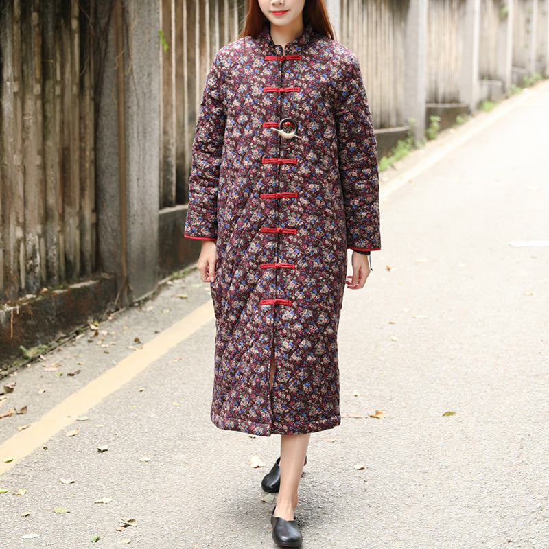 Winter Printing Floral Retro Cotton Coat For Women - Buykud