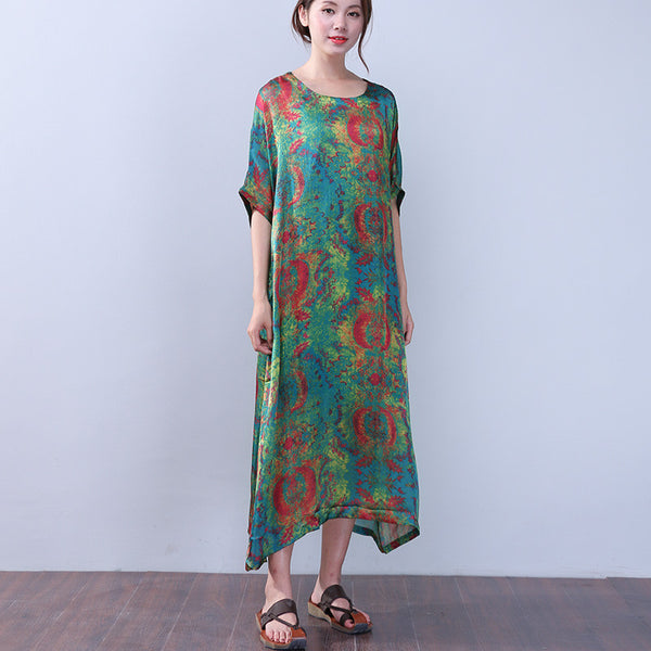 Printing Women Retro Silk Summer Loose Green Dress - Buykud