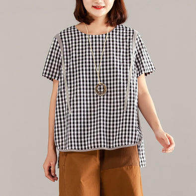 Women Gray Plaid Zipper Short Sleeve Summer Tops