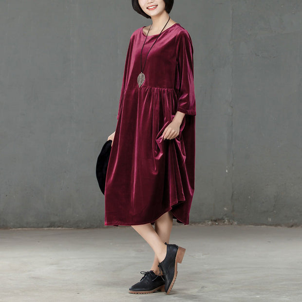 Loose Three Quarter Sleeve Wine Red Pleated Dress - Buykud