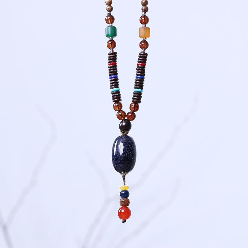 Exquisite Women Retro Beeswax Pendant Wood Beads Necklace - Buykud